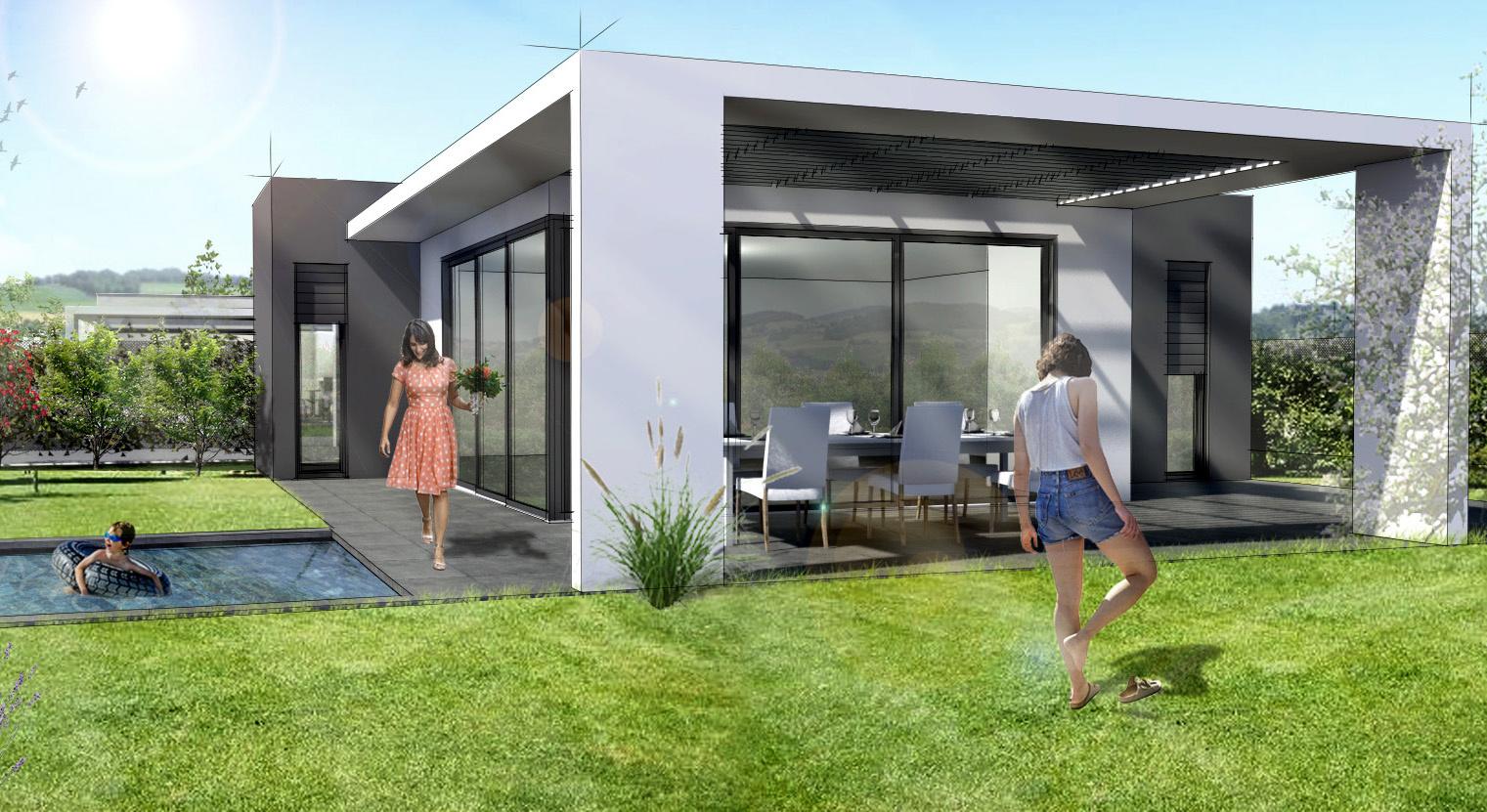 Maison contemporaine plain-pied secteur résidentiel